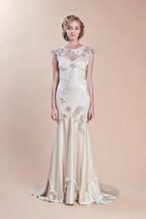 wedding photo - Embroidered Wedding Dress ♥ Claire Pettibone Silk Mermaid Wedding Dress