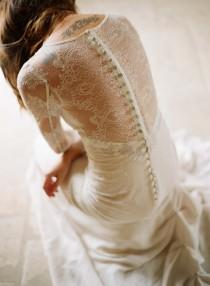 wedding photo - Long Sleeved Lace Back Button Wedding Dress ♥ Mademoiselle Claire Pettibone Wedding Dresses