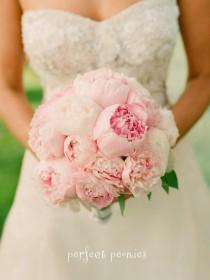 wedding photo - Bouquet de mariage de pivoine rose ♥ naturelles et frais