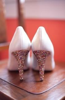 wedding photo - الذهب الأبيض وسبركلي أحذية الزفاف العرسان بريق ♥ أحذية