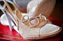 wedding photo - Dentelles et Rhinestoned Sparkly chaussures de mariage chaussures de mariée Glitter ♥