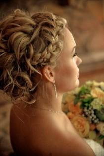 wedding photo - Francés Braid peinados de novia ♥ ondulado updo wedidng