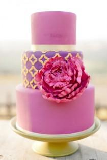 wedding photo -  Pink and Purple Fondant Wedding Cake