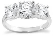 wedding photo -  Sterling Silver 3-Stone Cubic Zirconia Ring: Jewelry