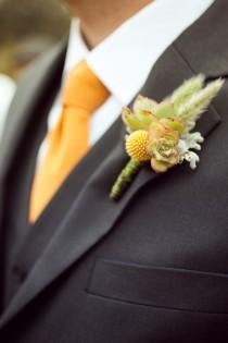 wedding photo -  Craspedia Boutonniere and Black Suit for Groom