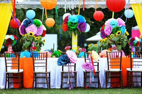 Colorful Hanging Paper Flowers And Chinese Lanterns Garden Wedding Decoration