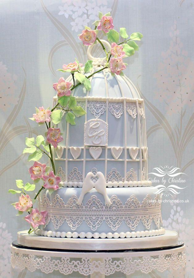 Birdcage Wedding Cake With Pink Fl Lace