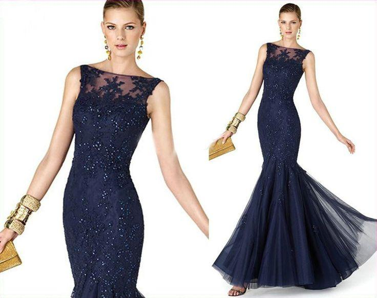 Lace Lique Long Mermaid Wedding Occasion Gown Formal Ball Party Evening Dress