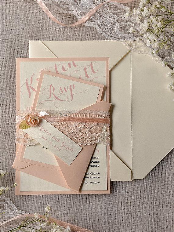 Custom Listing 20 Ivory Peach Wedding Invitation Vintage Lace Invitations Rustic Belly Band New