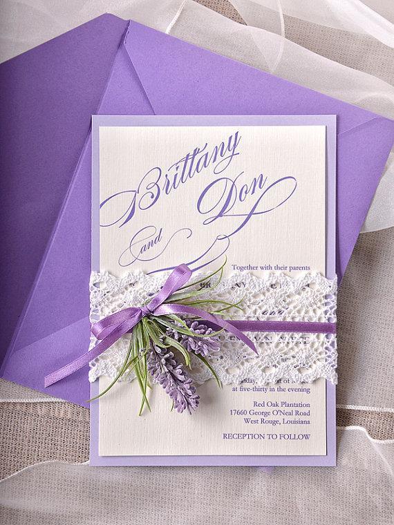 Custom Listing 100 Lavender Wedding Invitations Lace Bally Band Vintage Invitation New