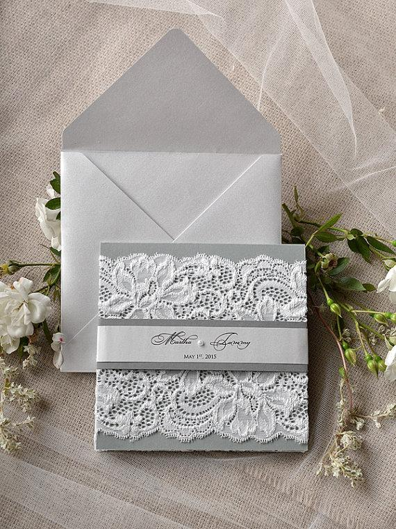 Silver And Grey Wedding Invitation