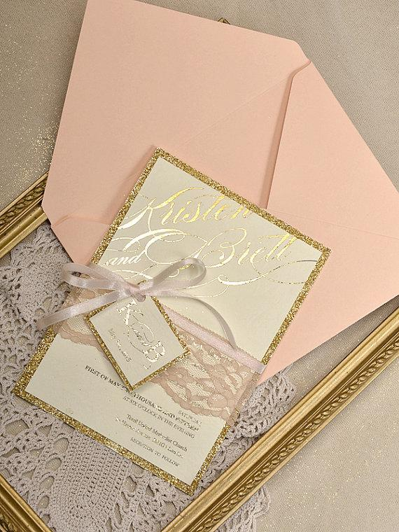 Custom Listing 20 Gold Glitter Wedding Invitation Peach Lace Invitations Glamour Inviation New