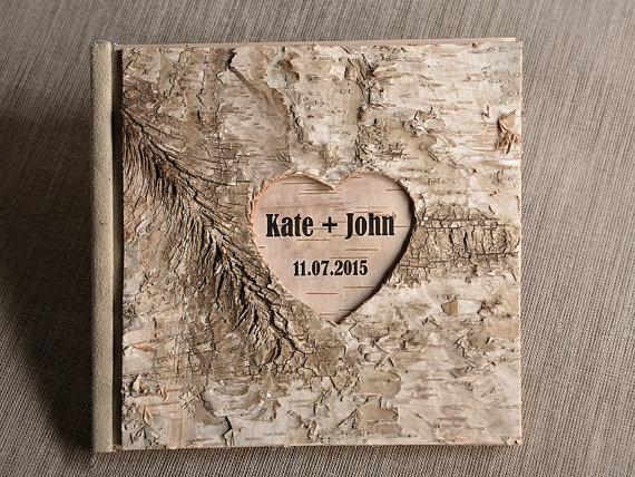Wood Guestbook Wooden Wedding Guest Book Natural Birch Bark Country Style Engraverd Names New