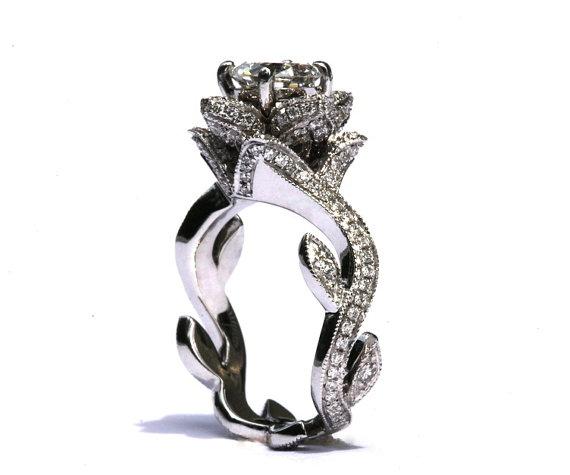 Blooming Work Of Art Milgrain Flower Rose Lotus Diamond Engagement Ring 1 75 Carat 14k White Gold Brides Fl07 Patented Design New