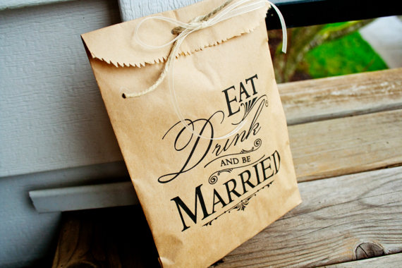 Kraft Paper Favor Bags Wedding Bag Candy Bar Or Table Eat Drink And Be Married Style 25 New