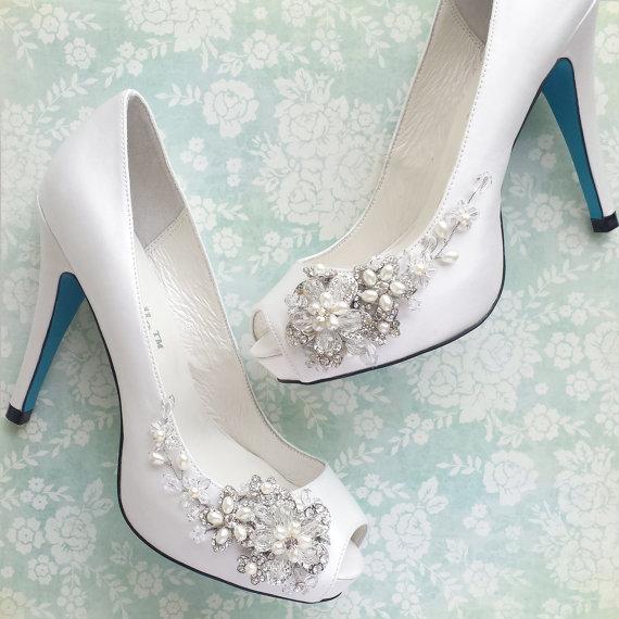 Something Blue Wedding Shoes With Crystal Blossom 2242770 Weddbook