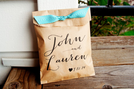 Wedding Favor Bags Personalized Bag Country Calligraphy Names Great Candy Buffet Flat Kraft 25 Pack New