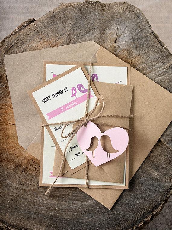Custom Listing 20 Rustic Lovebirds Wedding Invitation Birds Invitations Pink Eco Friendly New